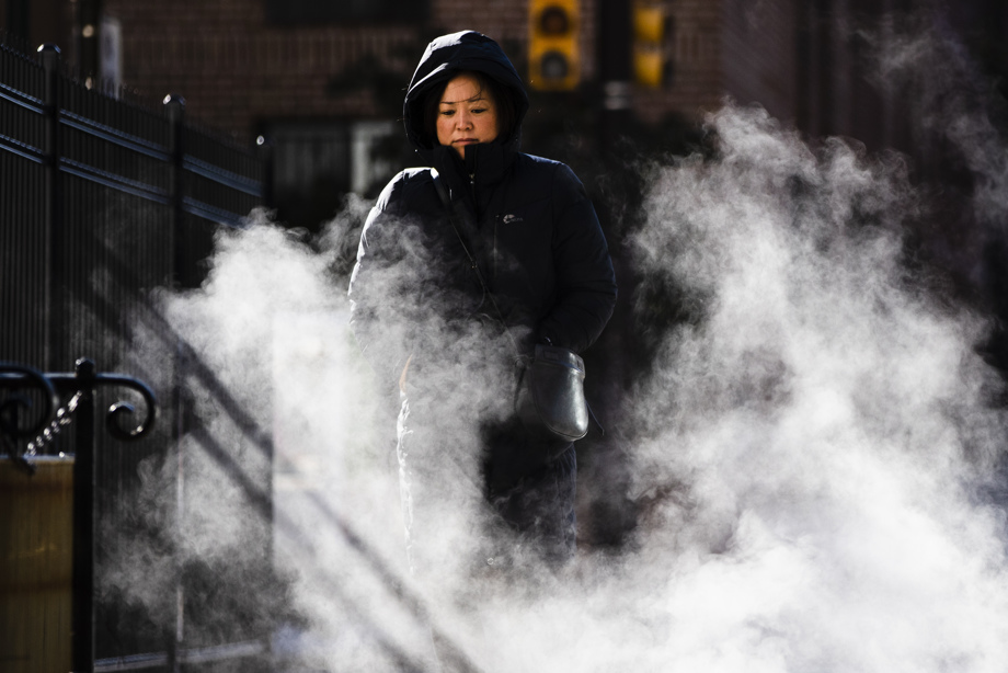 Philly Woman bundled up during Arctic Blast Fall 2019