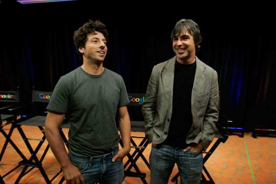 """Google co-founders Sergey Brin, left, and Larry Page talk about the new Google Browser, """"Chrome,"""" during a news conference"""