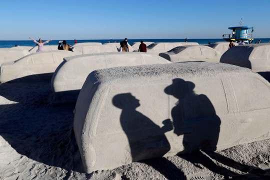 Car sand sculpture