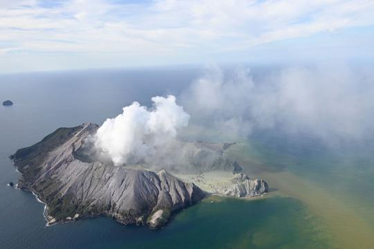 volcano on a small New Zealand island