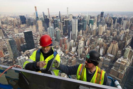 construction team up high