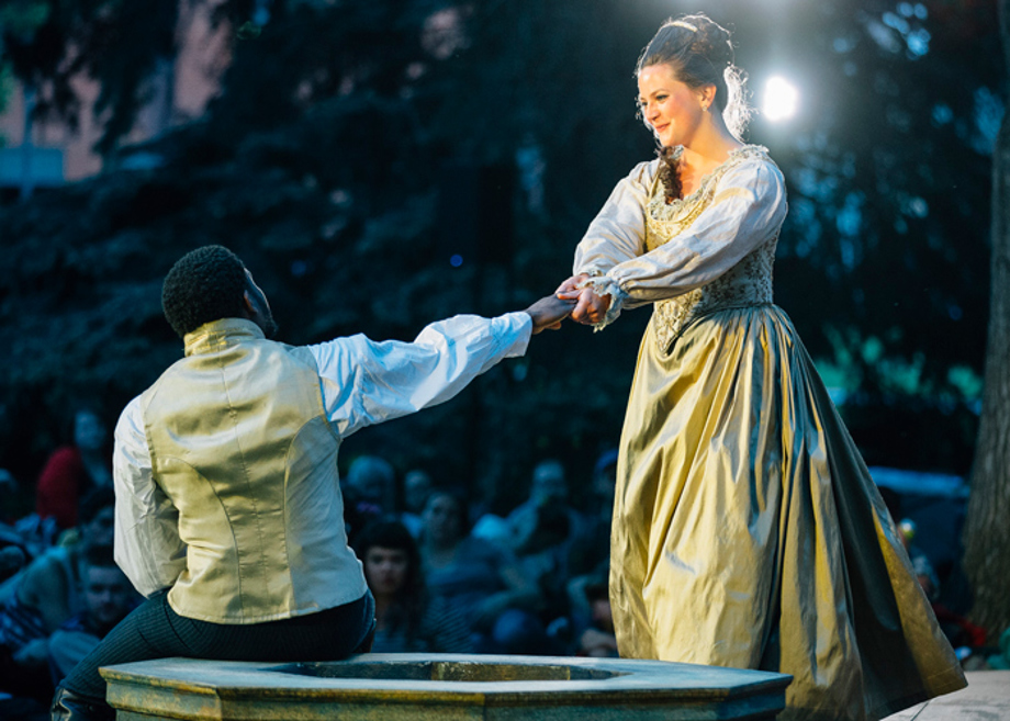 Madison Pettis, right, is playing Desdemona during a performance of Montana Shakespeare in the Parks