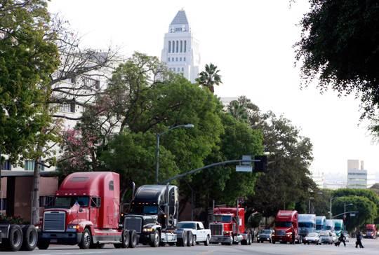 a caravan of trucks