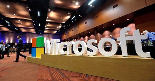 Microsoft sign at the annual shareholders meeting