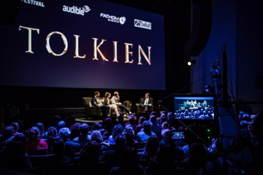 In this photo dated, May 7, 2019 a panel discusses the 2019 American biographical film, Tolkien.