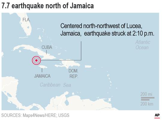 quake location map Caribbean Earthquake