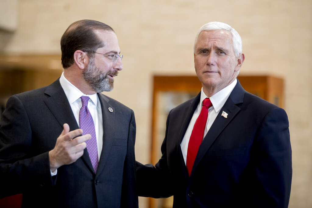 Vice President Mike Pence and Health and Human Services Secretary Alex Azar