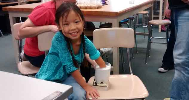 girl with 3D prosthetics process