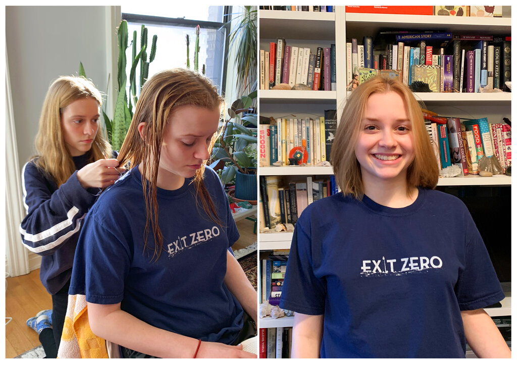 Fiona Hinds, 20, giving her sister, Sophie, 18, a haircut in New York, left, and Sophie Hinds posing with her new haircut.