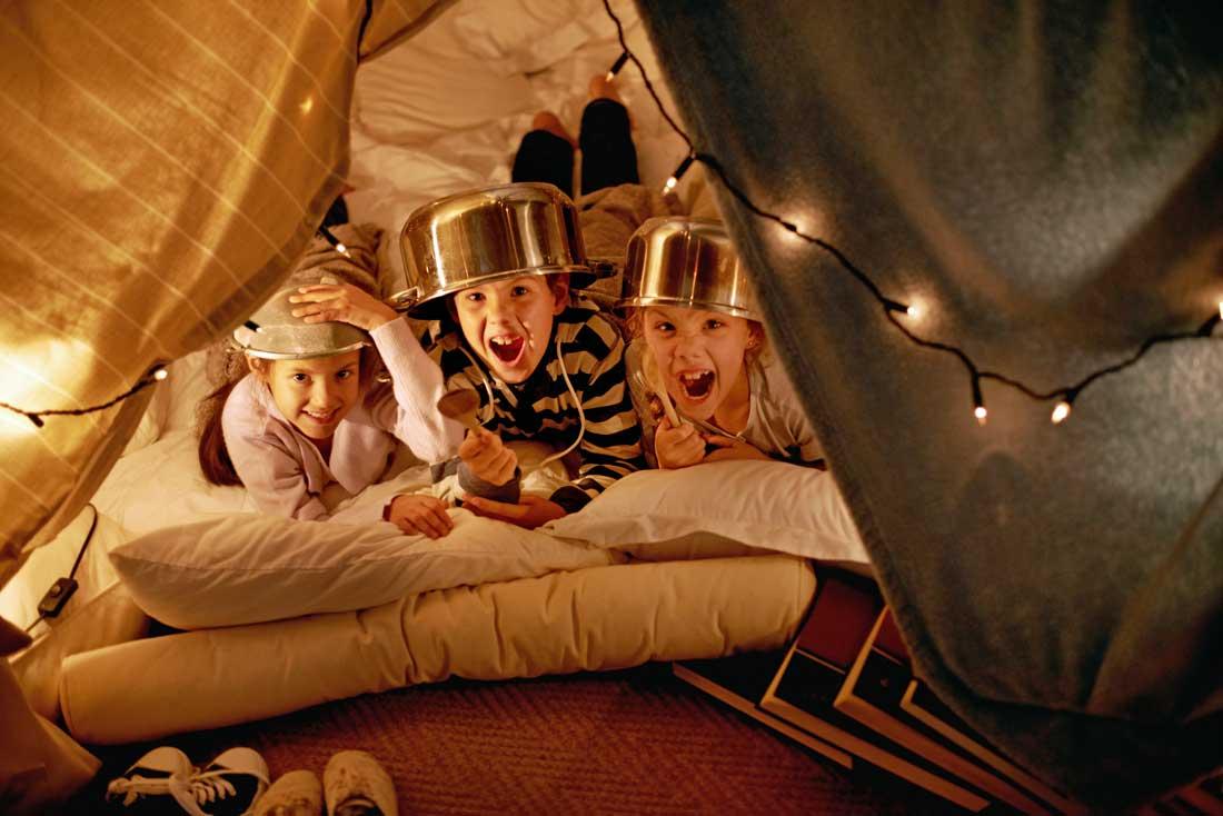 kids fun in tent