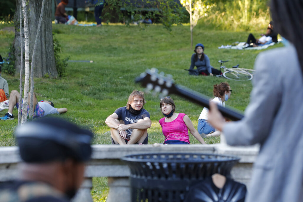People listening to band in NYC park