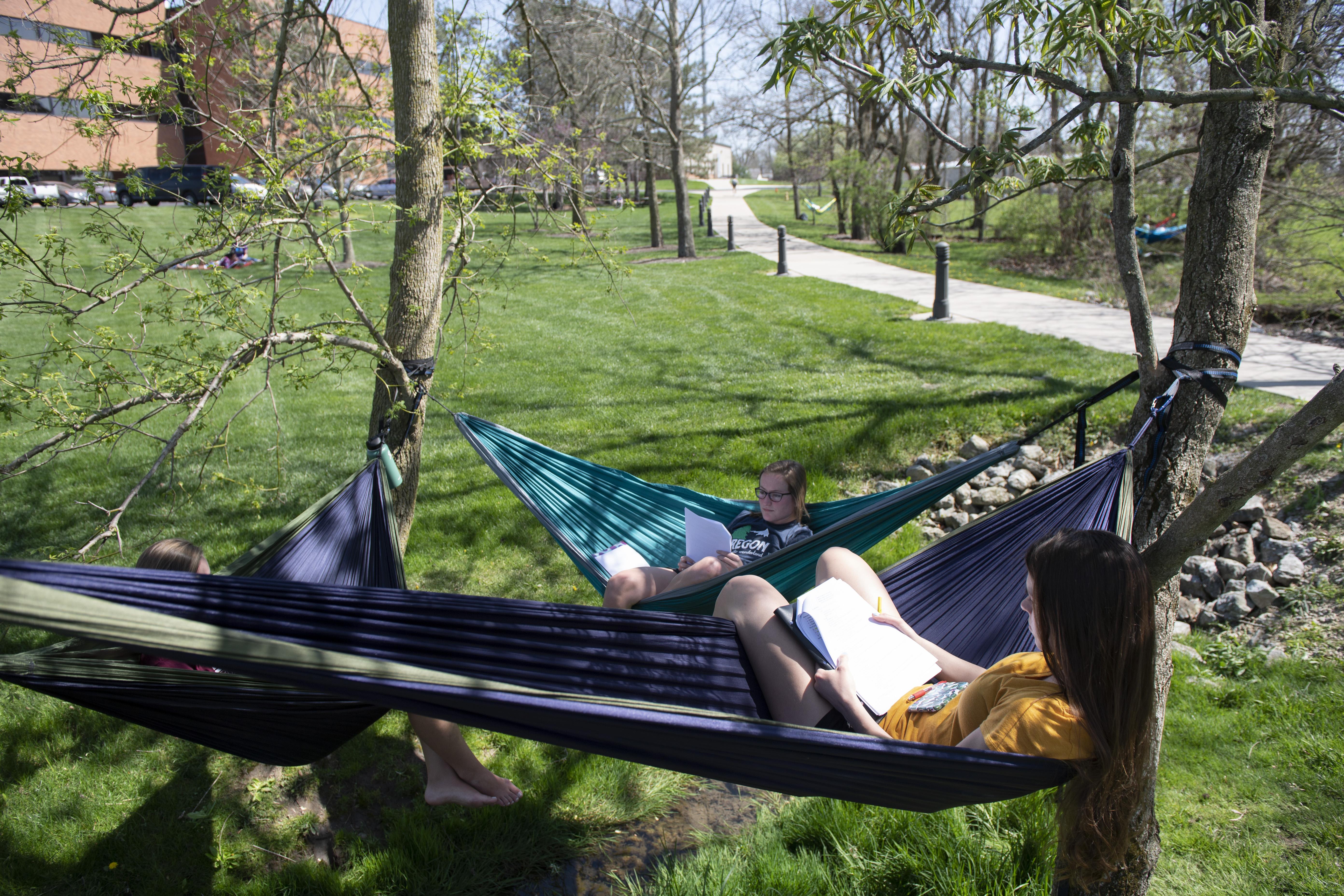 students in hammocks