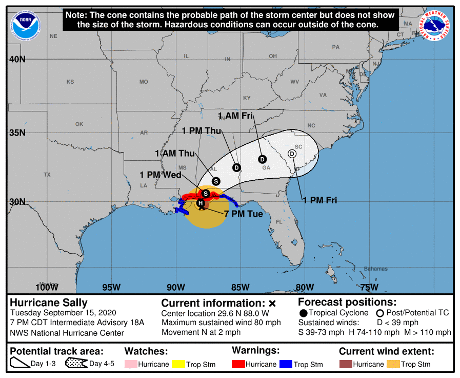 Projected path for Hurricane Sally