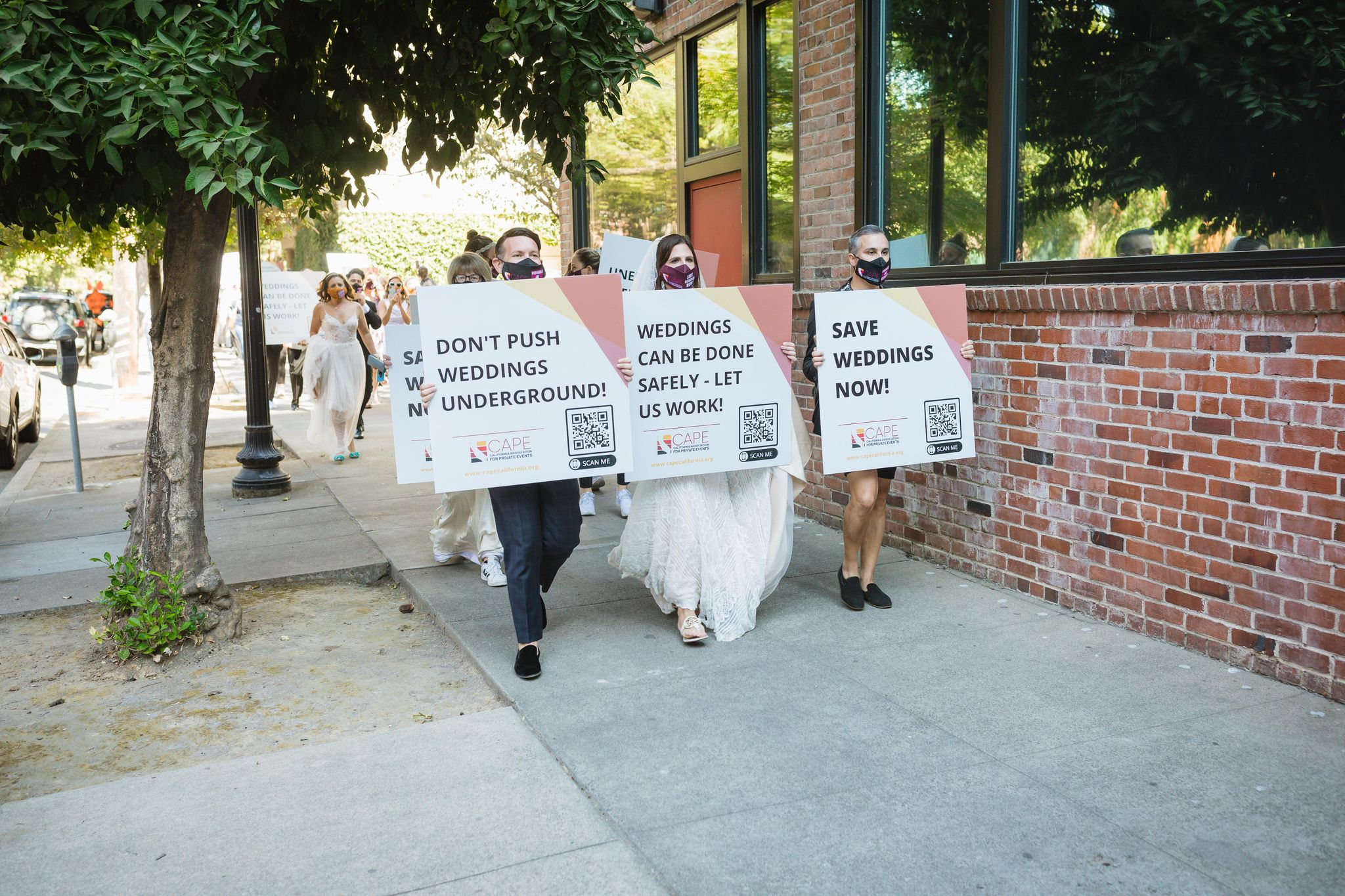 Wedding events community protests at California capitol