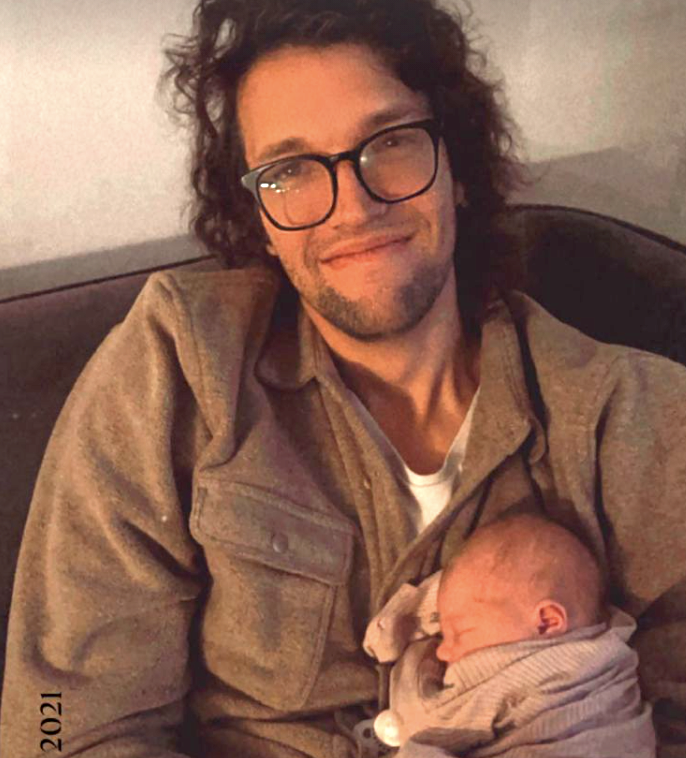Luke Smallbone and his new baby daughter