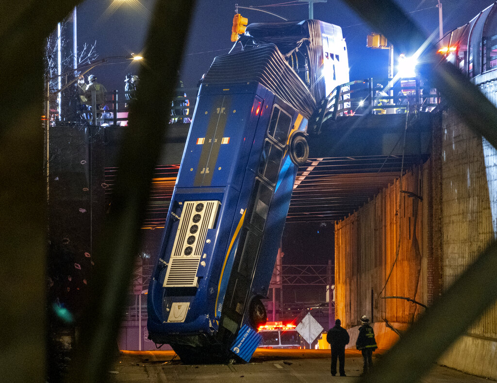 Bus Plunges off Overpass In NYC