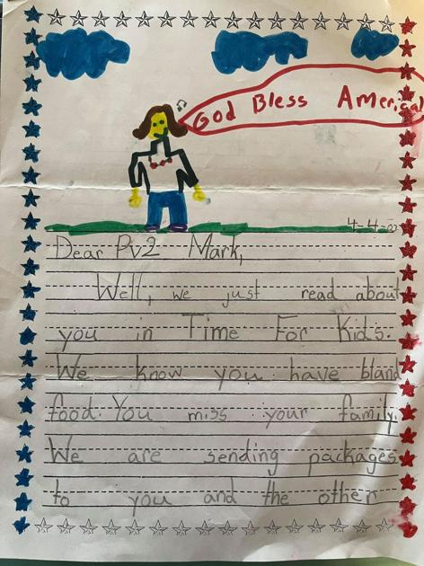 child's letter to soldier