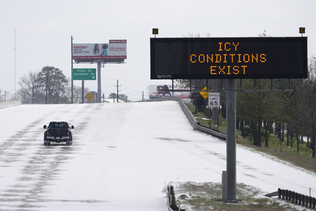 Icy Conditions Exist Sign In Texas