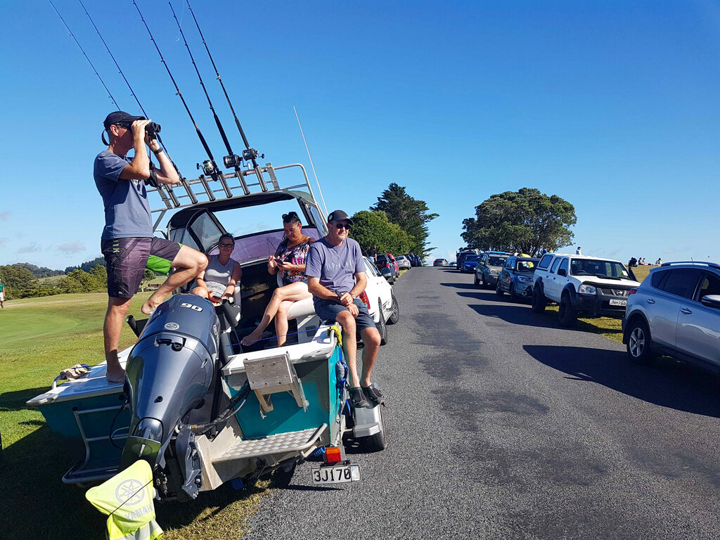 John Fitzgerald, left, on holidays with his wife Rita and friends, scans the horizon from high ground for any sign of a tsunami near Waitangi, New Zealand