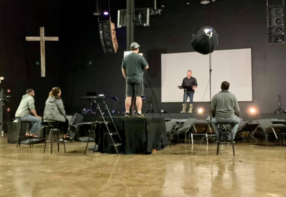 Pastor Jarod Smith live-streaming his Palm Sunday message