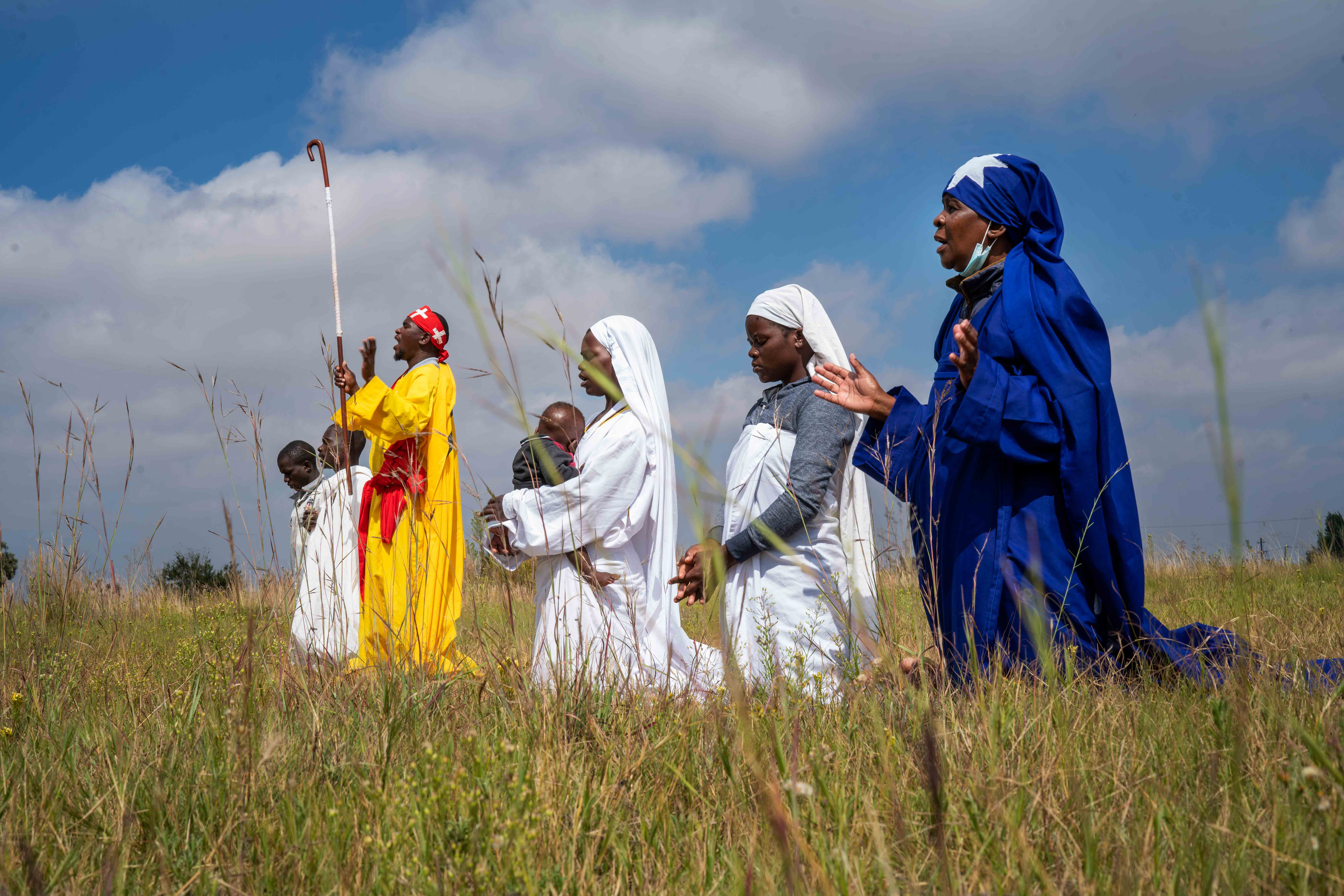 Apostolic Pentecostals celebrate Easter in field in the Johannesburg township of Soweto Sunday April 4, 2021.