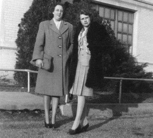 Geraldine Henry (right) when she was a teacher