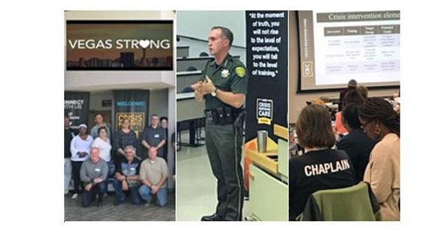 3x Vegas first responders, policeman teaching, chaplains listening