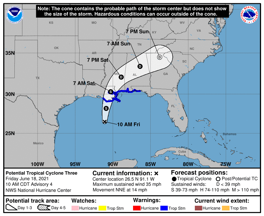 Path of Tropical Cyclone Three