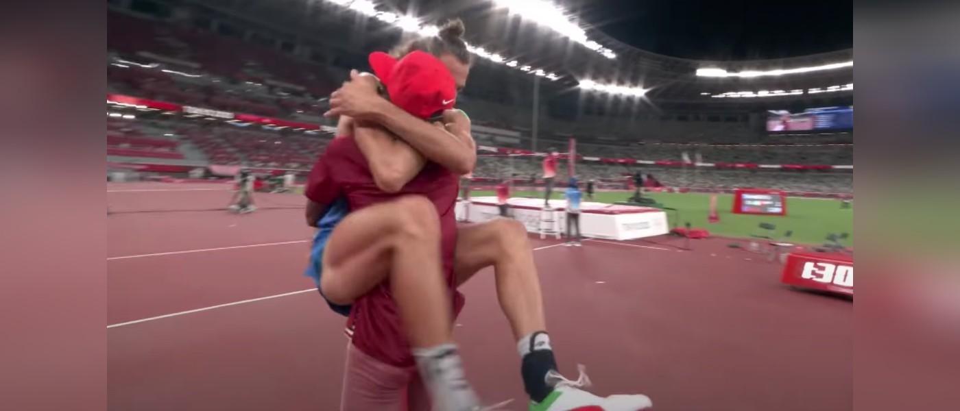 Olympians hugging