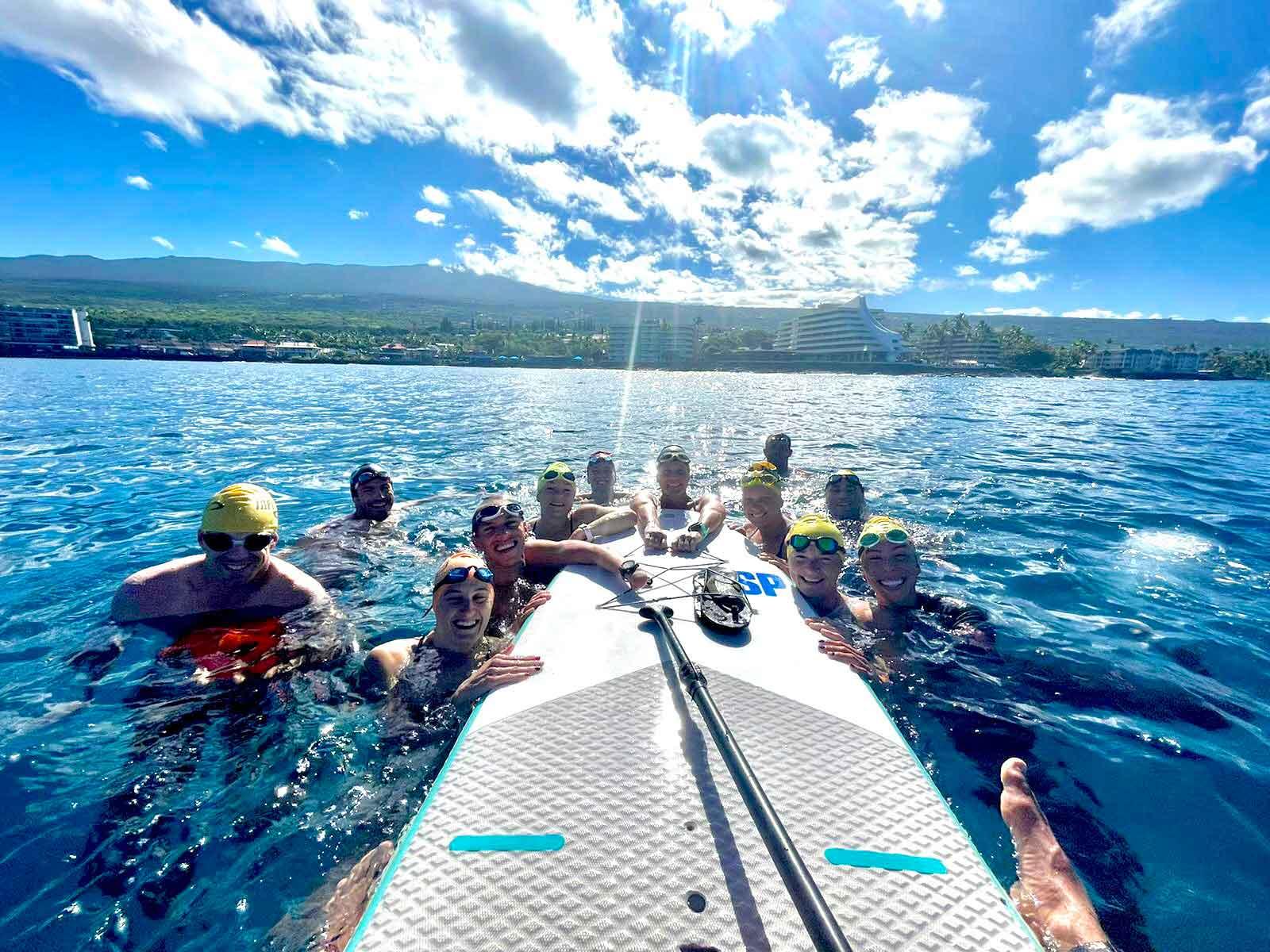 Grace ( far R) and team members - open water swim in Hawaii