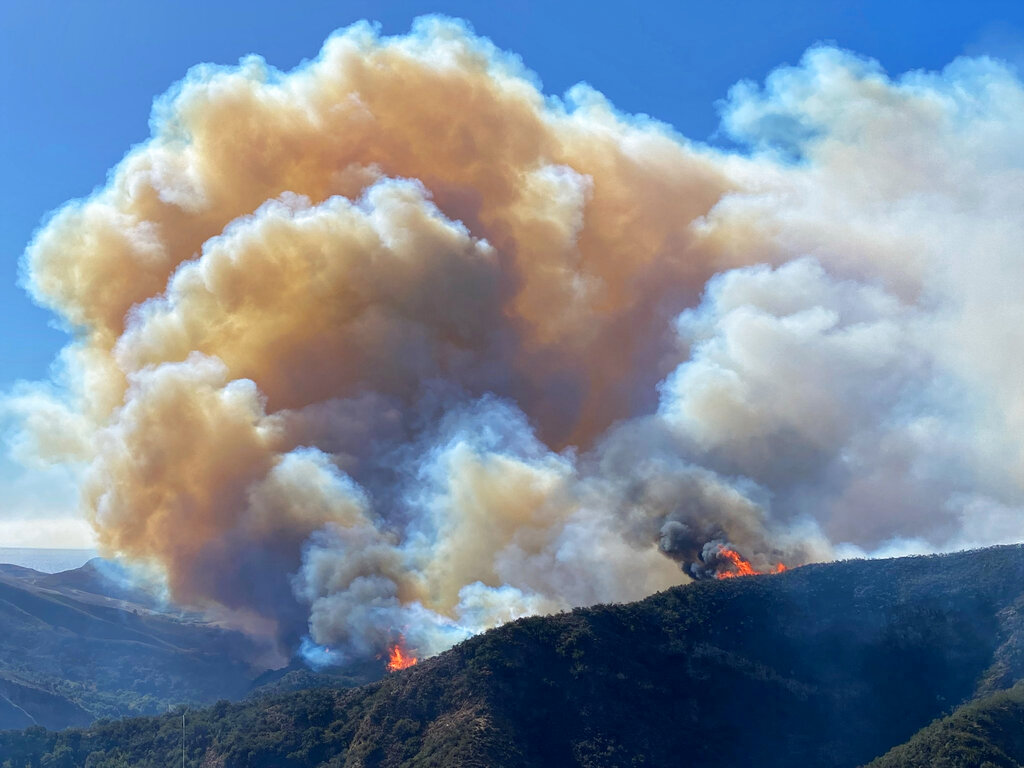 The Alisal Fire continues to burn the dry vegetation in Refugio Canyon