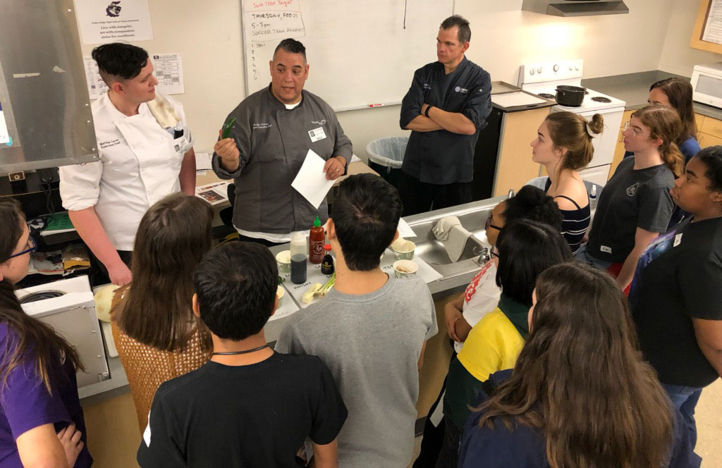 Students learn about the history of ramen and different ingredients that can be used to make a flavorful ramen dish